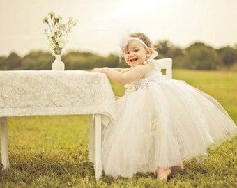 Lovely in Lace Tutu Dress- Vintage, Ivory, White flower girl