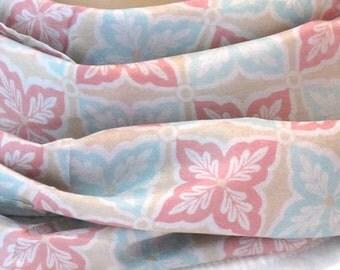 Pastel Silk Scarf, Flower Scarf, Scarf