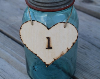 Custom Hot Stamped Table Numbers Rustic Heart Tags Wedding Decoration