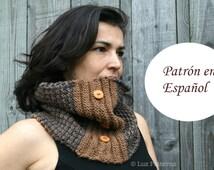 Patron de punto, patron de bufanda, cuello para mujer hombre unisex en Español Knitting snood  pattern (02) INSTANT DOWNLOAD