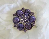 Vintage Metal Buttons - Blossom Button - Purple Stones - 26mm - set of 5