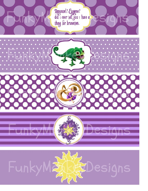 ... Rapunzel Inspired Birthday Party Digtial PRINTABLE Water Bottle Labels