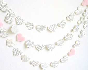 Paper heart garland, light pink upcycled vintage book paper garland, baby shower party decor, engagement decor, Valentines day