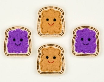 PEANUTBUTTER & JELLY - Embroidered Felt Embellishments / Appliques - Grape/Purple (Qnty of 4) SCF7080