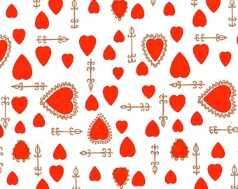 Vintage Valentines Gift Wrap Scrap 1960s Red Hearts Paper