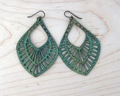Big Mama Lasercut Leather Earrings - Green