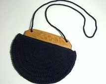 1930s CROCHETED BAG With Carved Wood Frame  - Dark Navy Blue - May Be Shoulderbag or Handbag