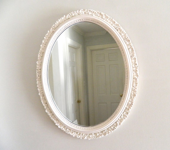 Vintage White Mirror Shabby Chic Oval Ornate Large