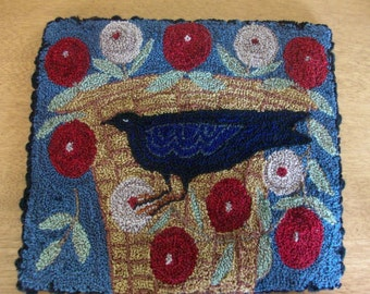 Primitive punch needle Crow Flower Basket mat or mini rug