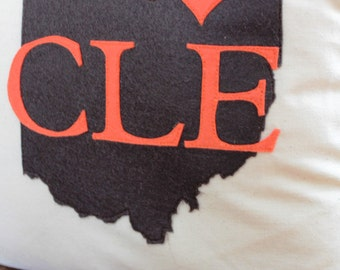 I Love Cleveland Appliqued Pillow Cover