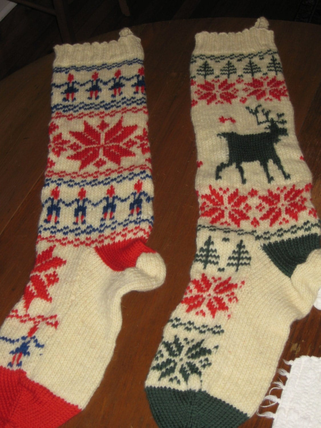 Vintage Christmas Stocking Knitting Pattern : Knit Christmas Norwegian Stocking Set Vintage Knitting PDF