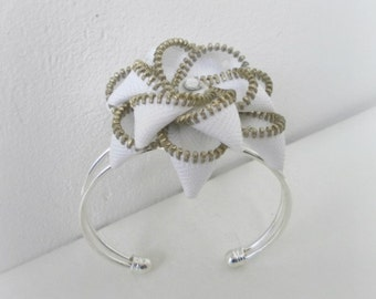 Unique gift, Zipper bracelet, cuff bracelet, silver plated, lead and nickel free - Flower bracelet, gift ideas