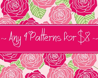 4 CROCHET PATTERNS for 8 Dollars - Savings Package