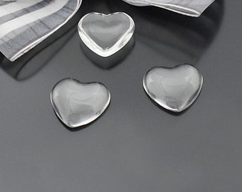 FREE SHIPPING within USA, 40 pcs Clear Transparent Heart Glass Cabochons, 18x18x5mm thick