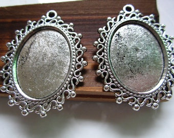 FREE SHIPPING within USA, 10 pcs Antique Silver Cabochon settings, inner tray 18x25mm (1 inch)