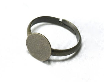 FREE SHIPPING within USA, 12 pcs Antique Bronze Ring Base with 10mm Glue Pad for attaching Cabochons, 19mm