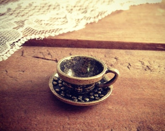 2 Pcs Teacup Charms Antique Bronze Teacup Charm Alice in Wonderland Charm Tea Charm Vintage Style Pendant  Jewelry Supplies (BB166)
