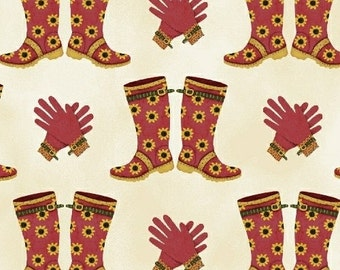 SALE - Windham Fabrics - Gazebo Collection - Garden Boots and Gloves - Red