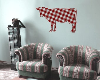 Cow Sillhouette with Flannel pattern Wall Decal