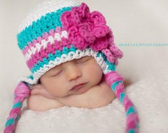 newborn hat, newborn girl hat, baby girl hat, baby hat, newborn baby hat, crochet baby hat