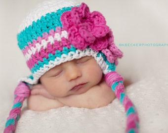 baby hat, newborn hat, girls hat with flower, girls earflap hat, crochet girls hat, little girls hat