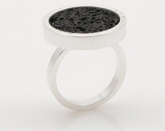 Arena - silver plated ring with volcanic lava PYO
