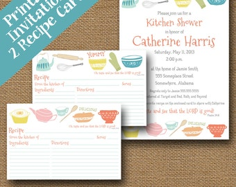 "Kitchen Shower Invitation and Recipe Cards Combo Pack DIY PRINTABLE Retro ""Vintage Kitchen"" Christian Scripture Bible Verse Card"