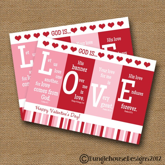 "Printable Valentine Card Christian Scripture Bible Verse Valentine DIY PRINTABLE ""God is Love"""
