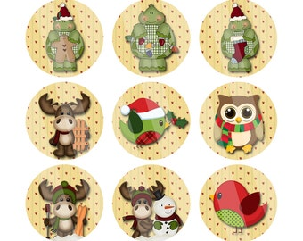 DIY Holiday Critters One Inch Digital Images R1003