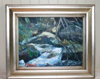 Rocks and Stream Oil Landscape /11 X 14/ Original Oil of the Blue Ridge Mountains, NC