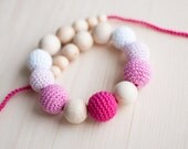 Teething necklace / Crochet nursing necklace - Shades of pink, Gradient