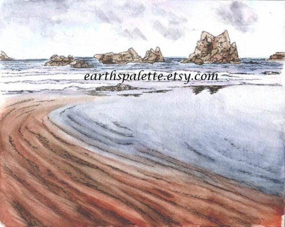 The Beach, watercolor/ink 8x10 painting, original art, earthspalette