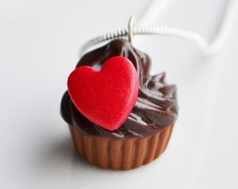 Chocolate Cupcake Necklace, Red Heart, Fimo, Polymer Clay