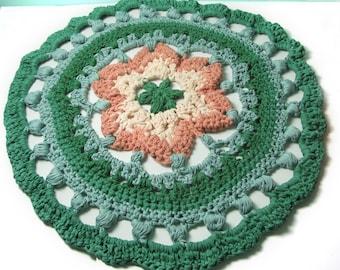 Crocheted rug, round rug - MANDALA RUG - pink and green