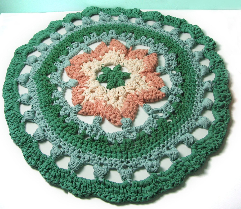 Crocheted Rug Round Rug MANDALA RUG Pink And Green