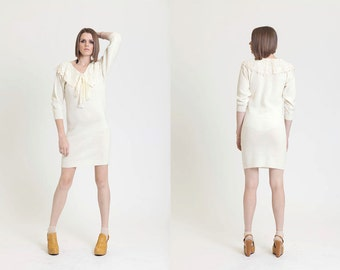 lil lady 90's Cream Sweater Dress with Lace Shawl collar & Ascot Tie