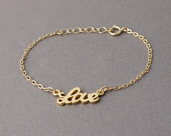 Gold Love Word Bracelet