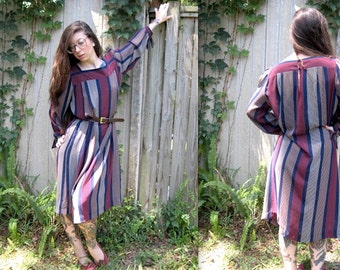 Vintage // 1970's Sheer Striped Maxi // Gypsy Caftan // Lorac Original // Free Size // Colorblock Oversized