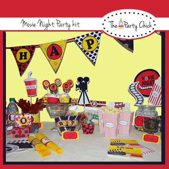 Movie Night,   Party Invitations & Decorations - Printable Party Kit - Editable Text you personalize at home - Instant Download