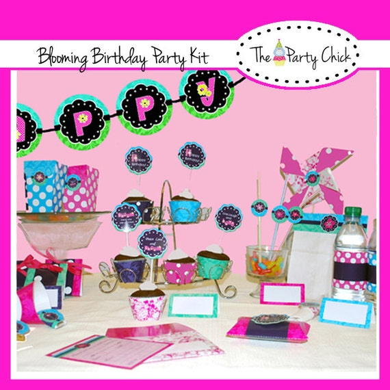 BLOOMING, Damask,   Party Invitations & Decorations - Printable Party Kit - Editable Text you personalize at home - Instant Download