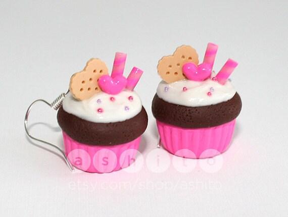 Hypoallergenic Kawaii Pink Cupcake Earrings - Polymer Clay