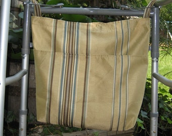 Earth Friendly~Green~Environmentally Friendly~Recycled~Walker Wheel Chair Organizer Tote Bag Brown Blue Stripe