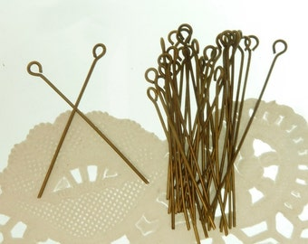 30 eye hook end antiqeu bronze head pins 40 mm x 1mm thick