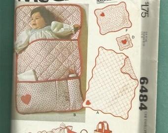 Vintage 1979 McCalls 6484 Baby Accessories Pattern Quilt Diaper Bag Bunting & More UNCUT