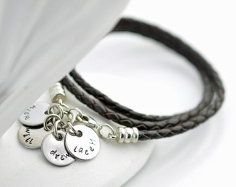 Personalized hand stamped,womens jewelry, brown leather cord wrap bracelet with stainless steel initial discs