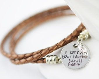 Personalized hand stamped Bracelet, Mommy Jewelry,Leather Bracelet, Birthstone Bracelet