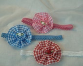 Infant lace headband red plaid, blue plaid, pink plaid, Gingham Stretch Lace Baby Headband, Rosettes, Baby Shower Gift, New Baby, Picnic