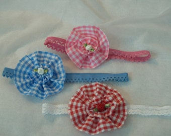Baby lace headband SET 3 baby bands red blue pink Gingham Stretch Lace Baby Headband, Rosettes, Baby Shower Gift, New Baby, Picnic