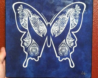 Blue Henna Butterfly Design Print on a 10x10 Stretched Canvas