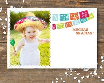 Fiesta Thank You Photo Card Printable- Papel Picado